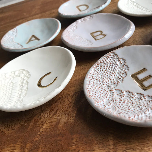 Handmade Ceramic Monogram Ring Dish