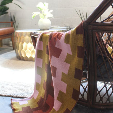 Kinship Throw (Cinnamon + Gold + Petal + Terracotta)