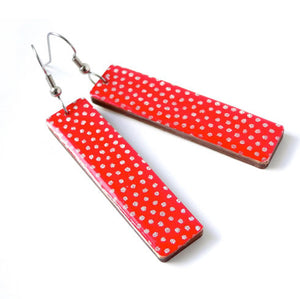 Long Red Polka Dots Earrings