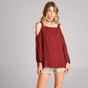 Loose Fit Cold Shoulder Blouse