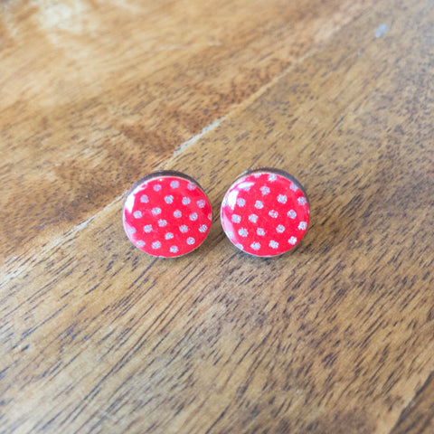 Small Red/Gold Dot Studs