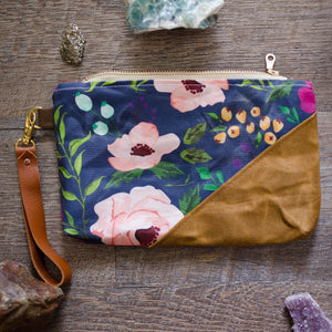 Navy Floral Waxed Canvas Wristlet