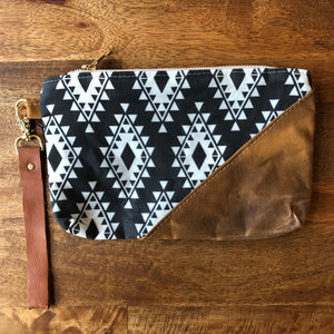 Aztec Tribal Waxed Canvas Wristlet