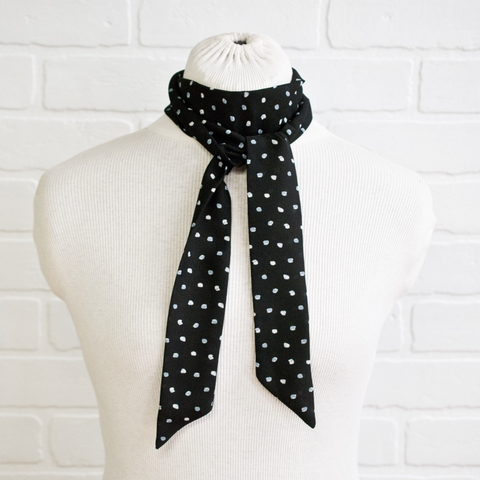 Black with White Neck Scarf