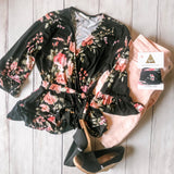 Romantic Floral Wrap Top