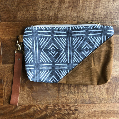 Diamond Tribal Waxed Canvas Wristlet