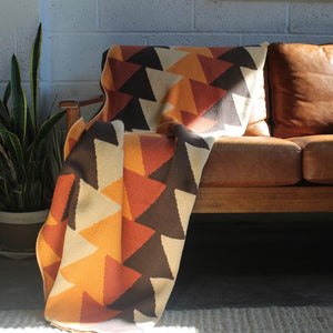 Pyramid Throw - Coffee + Flame + Terracotta