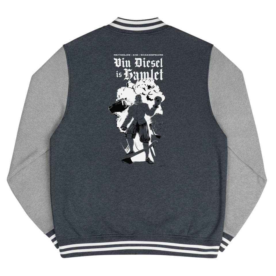 Vin Diesel Is Hamlet Poster Men's Letterman Jacket