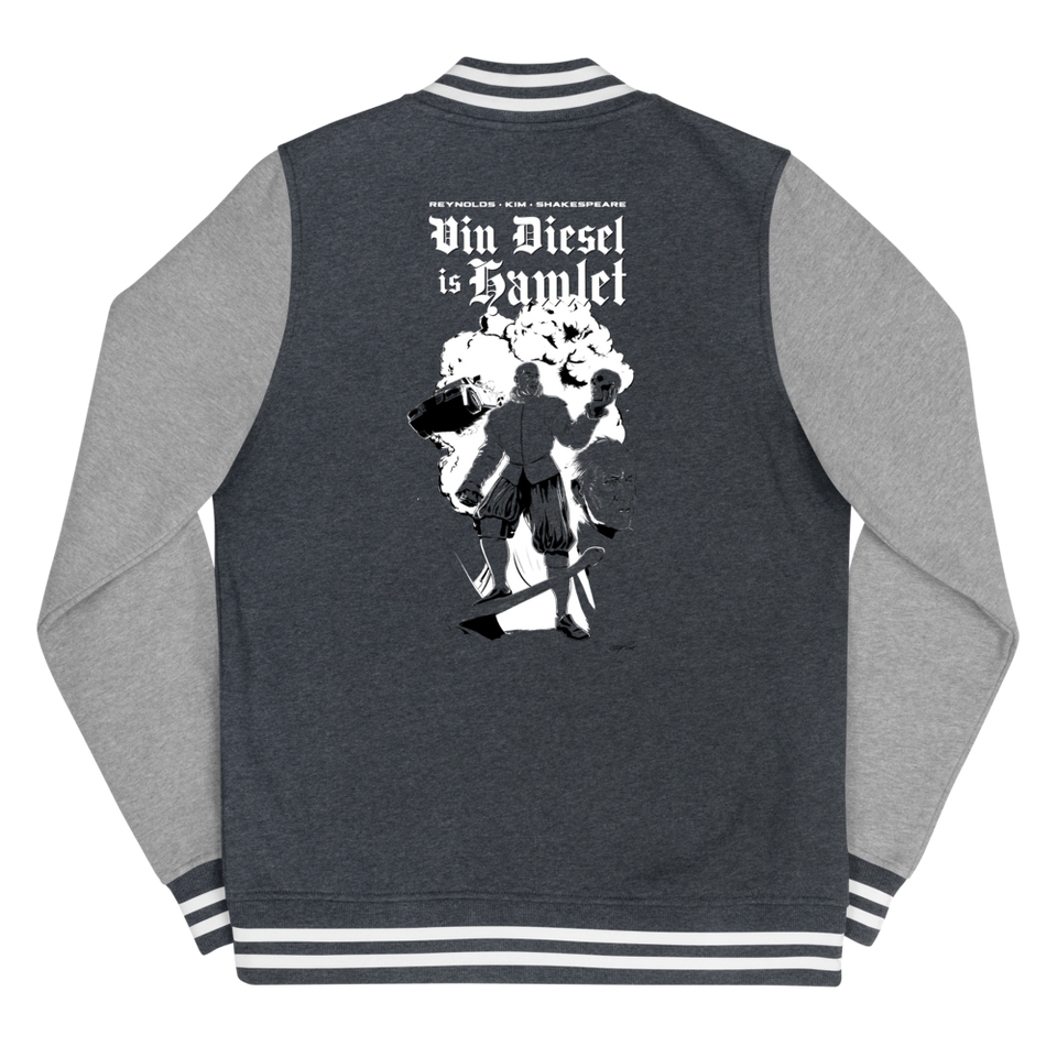 Vin Diesel Is Hamlet Poster Women's Letterman Jacket