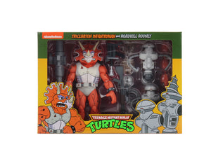 "TEENAGE MUTANT NINJA TURTLES CARTOON W4 TRICERATRON INFANTRYMAN AND ROADKILL RODNEY 2-PACK 7 INCH SCALE ACTION FIGURES ""pre-order apr 2021 approx"""