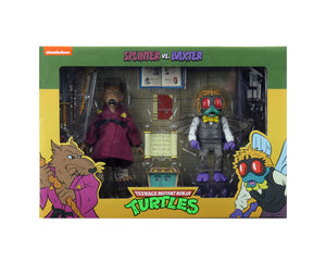 "TEENAGE MUTANT NINJA TURTLES CARTOON W4 SPLINTER AND BAXTER 2-PACK 7 INCH SCALE ACTION FIGURES ""PRE-ORDER APR 2021 APPROX"""