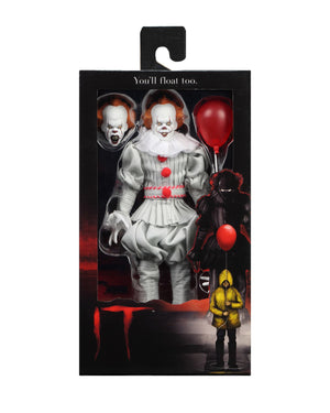 "IT 2017 PENNYWISE CLOTHED 8"" RETRO ACTION FIGURE"