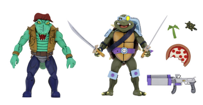 TEENAGE MUTANT NINJA TURTLES CARTOON SERIES 3 LEATHER HEAD AND SLASH2-PACK ACTION FIGURES