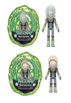 RICK AND MORTY SPACE SUIT RICK AND SPACE SUIT MORTY ACTION FIGURE PAIR