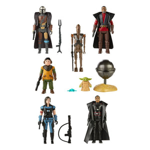 STAR WARS THE MANDALORIAN RETRO COLLECTION SET OF 7 ACTION FIGURES