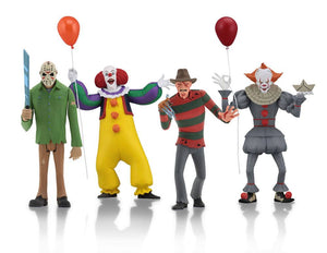 "TOONY TERRORS 6"" SCALE ACTION FIGURES SET OF 4, IT, FRIDAY THE 13TH, NIGHTMARE ON ELM STREET"