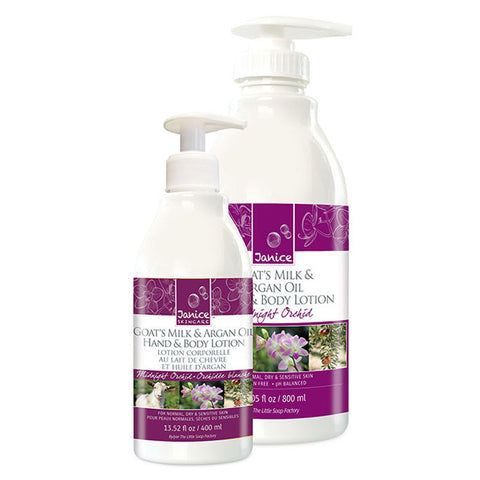 Goat's Milk, Argan & Cranberry Seed Oil Hand & Body Lotion - Midnight Orchid, large and small size lotion bottles