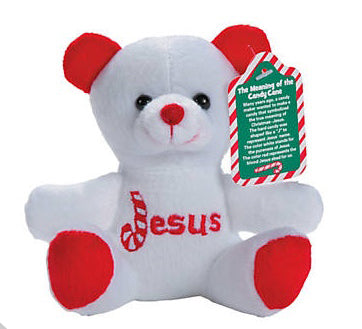 Plush Candy Cane Bear With Card