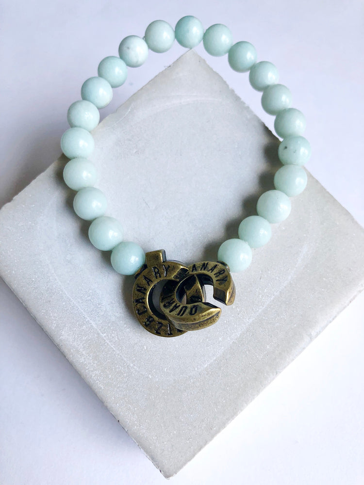 Brass - Amazonite - M - Connected Bracelet