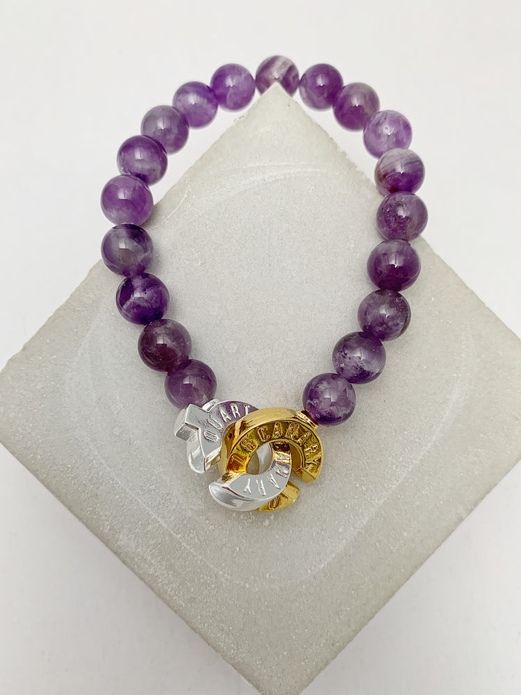 Two Tone - Amethyst - S - Connected Bracelet