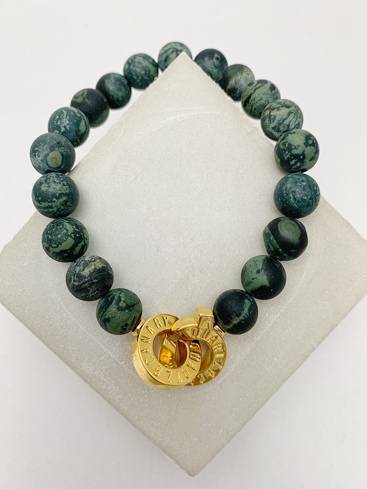 Gold - Kambaba Jasper - XL - Connected Bracelet