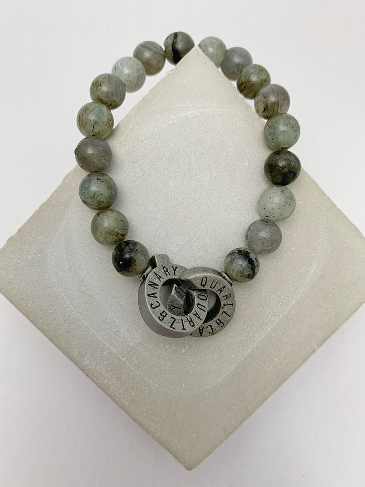 Load image into Gallery viewer, Pewter - Labradorite - S - Connected Bracelet