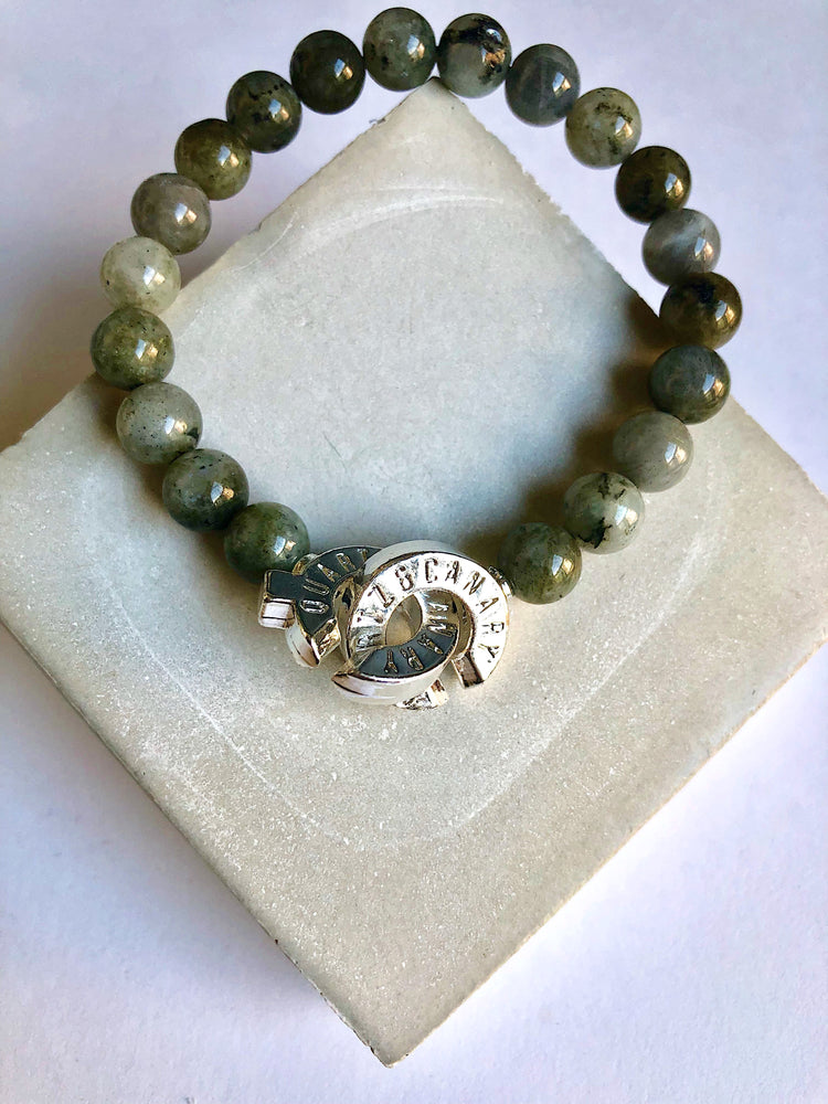 Load image into Gallery viewer, Silver - Labradorite - M - Connected Bracelet