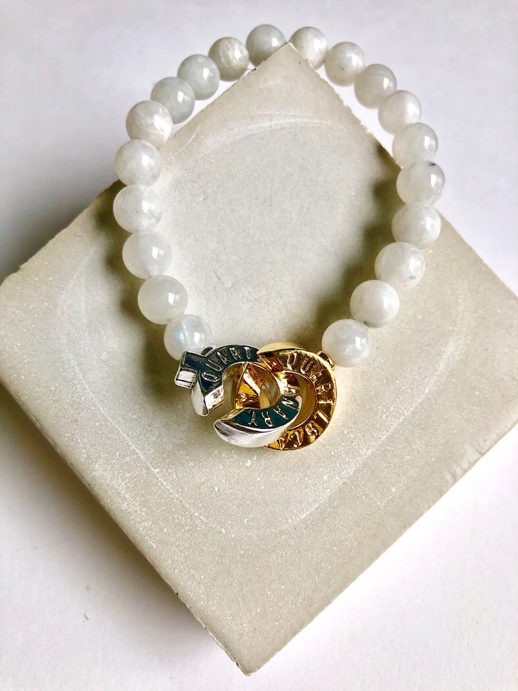 Two Tone - Moonstone - S - Connected Bracelet