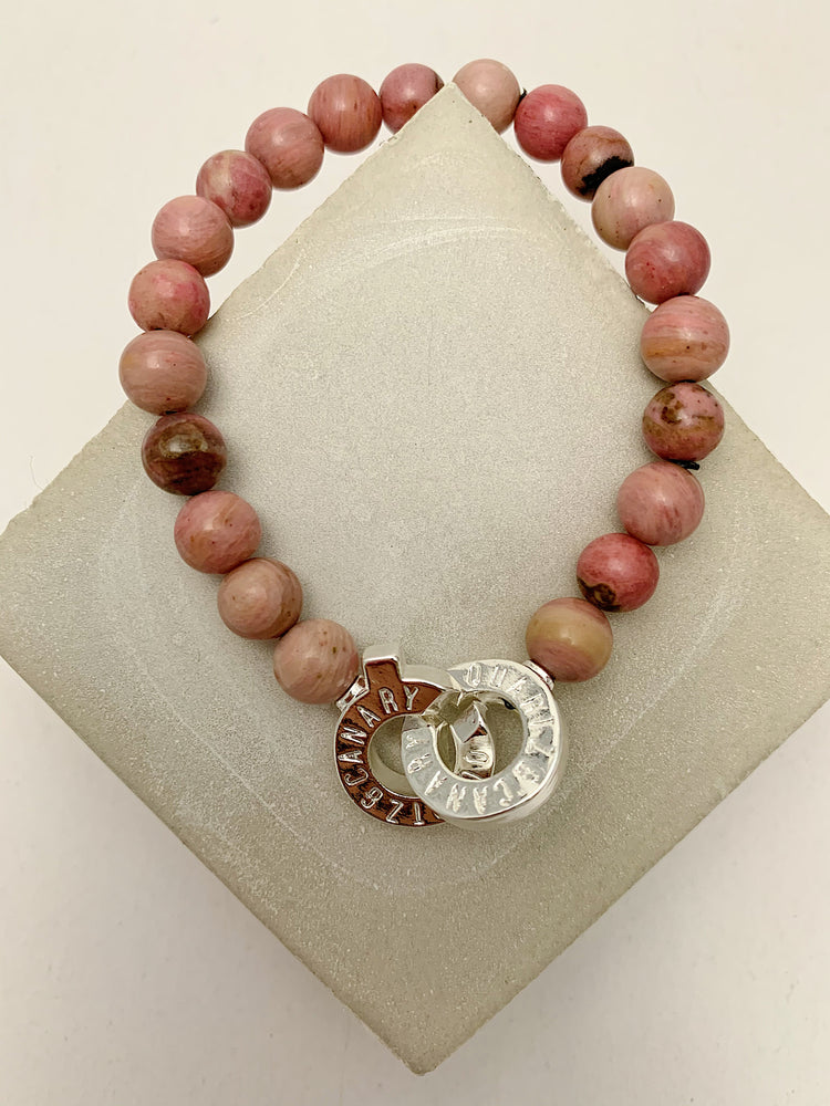 Load image into Gallery viewer, Silver - Rhodonite - M - Connected Bracelet