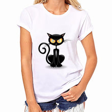 Women White T Shirt, Girls Plus Size Available, Cute Cat Print Tees