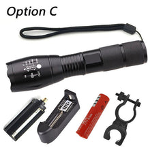 LED flashlight Tactical Flashlight 5000 Lumens  Zoomable 5 Modes Aluminum LED Torch Flashlight