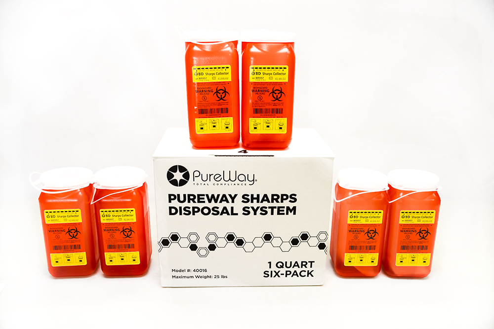 1.4 Quart 6 pack PureWay Multipack Sharps Disposal By Mail System