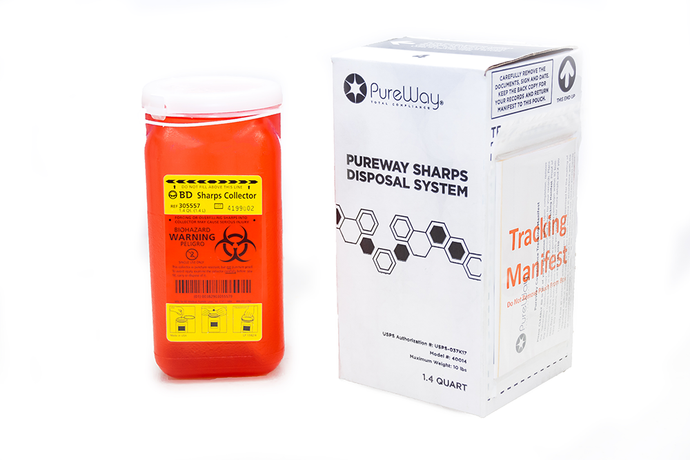 1.4 Quart Single PureWay Sharps Disposal By Mail System