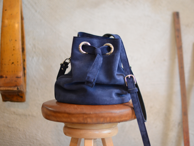Blue Suede Bucket Bag