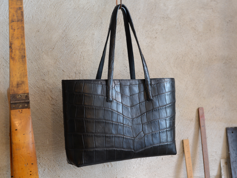Black Crocodile Tote Bag