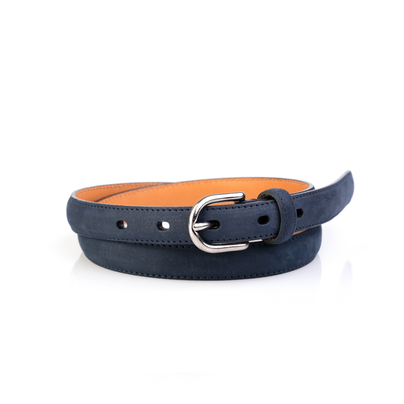 Layered Women's Belt, Blue Suede