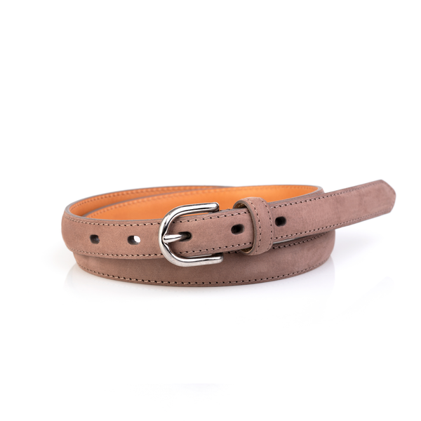 Layered Women's Belt, Pale Taupe Suede