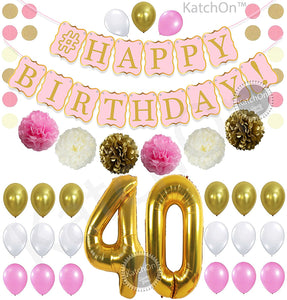 PINK 40th BIRTHDAY DECORATIONS BALLOONS BANNER