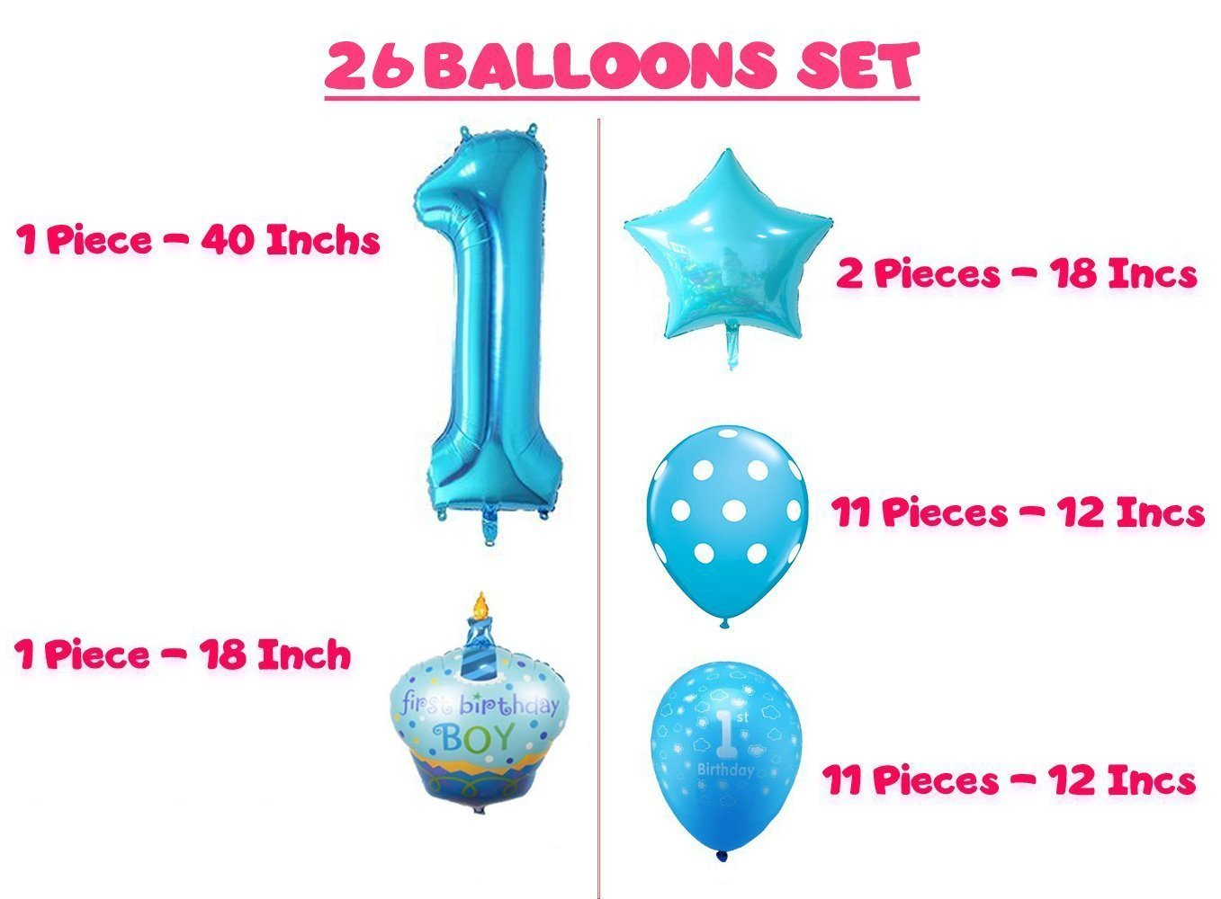 photo relating to 1st Birthday Party Checklist Printable called 1st Birthday Boy Balloons Fixed - Reward - Printable Social gathering