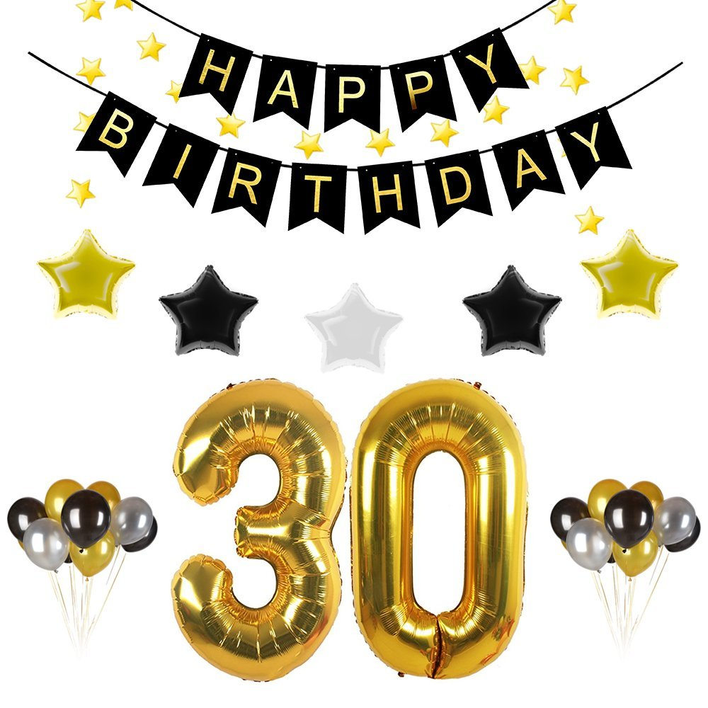 30th Birthday Party Decorations Kit Gold Black Happy