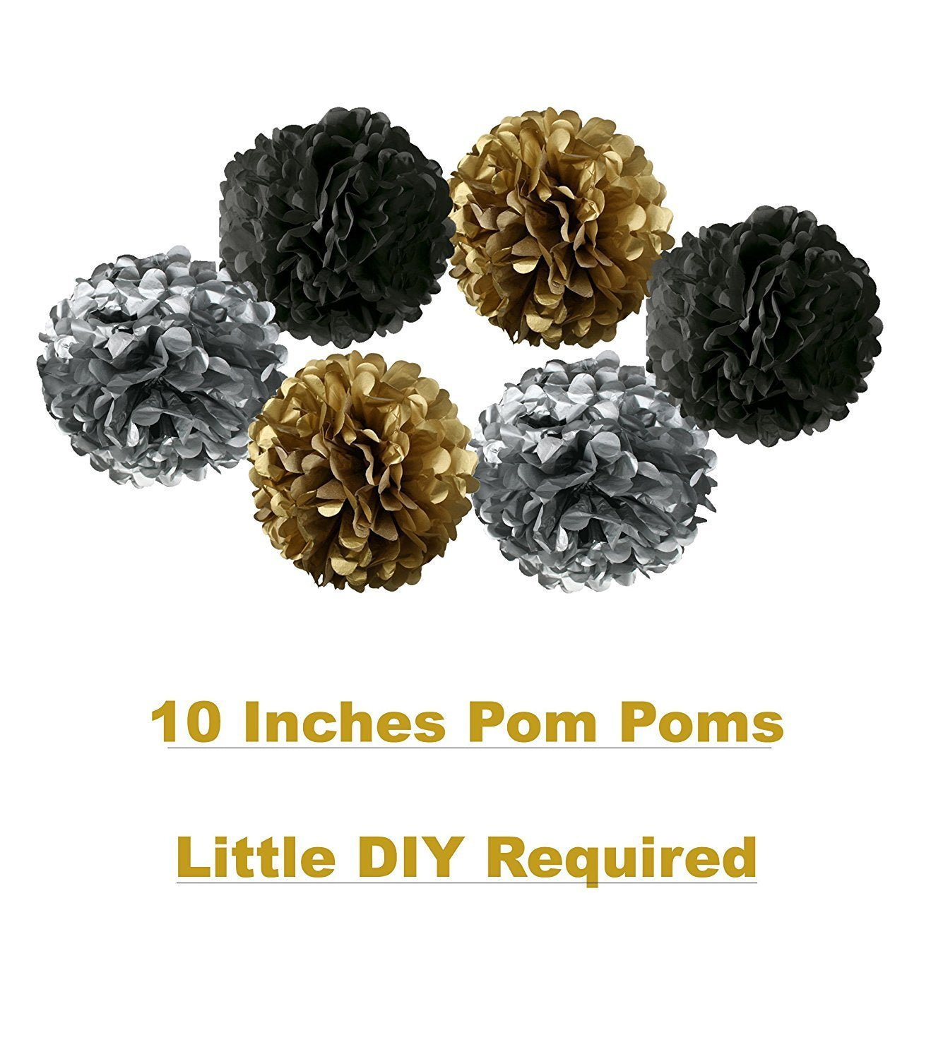 Vintage 30th BIRTHDAY DECORATIONS PARTY KIT Black Gold And Silver Paper PomPoms
