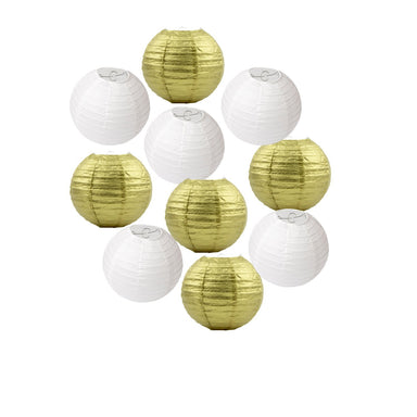 White-and-Gold-Paper-Lanterns---10-Pack-