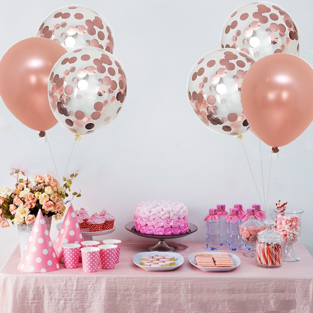 Large, Rose Gold Confetti Balloons Decorations - 18 Inch ...