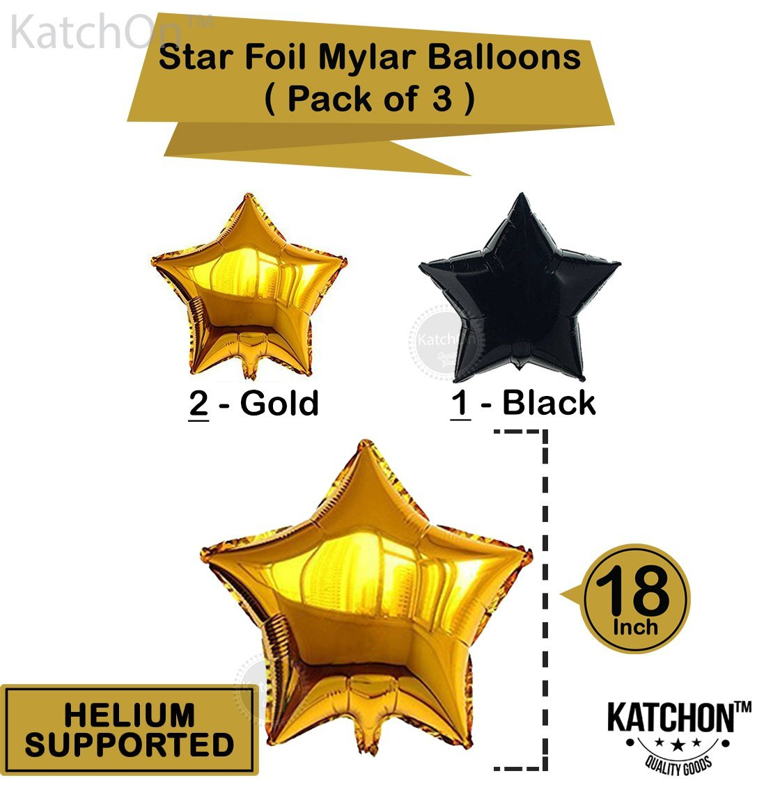 2018 Balloons Gold Decorations Banner with Gold, Black & White Latex ...
