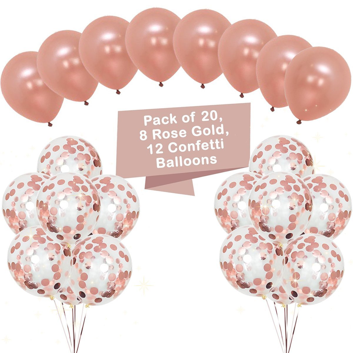 Large Rose Gold Confetti Balloons Decorations 18 Inch