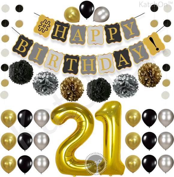 Vintage 21st BIRTHDAY DECORATIONS PARTY KIT Black Gold And Silver Paper PomPoms