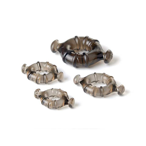 EASY GRIP COCK RING SET WITH PULL TABS, SMOKE BY LYNK PLEASURE