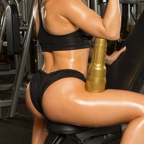 woman with a gold fleshlight