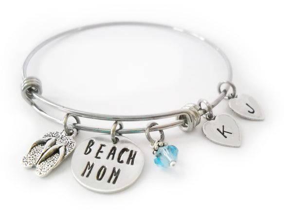 Beach Mom Bangle with Heart Initials
