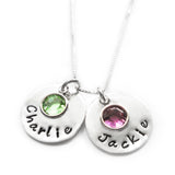 Sterling Silver Name Necklace with Swarovski Birthstone